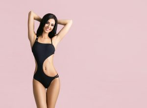 Slender woman wearing a swimsuit